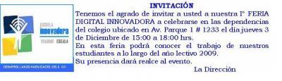 INVITACIÓN A FERIA DIGITAL INNOVADORA EN EL ERASMO ESCALA
